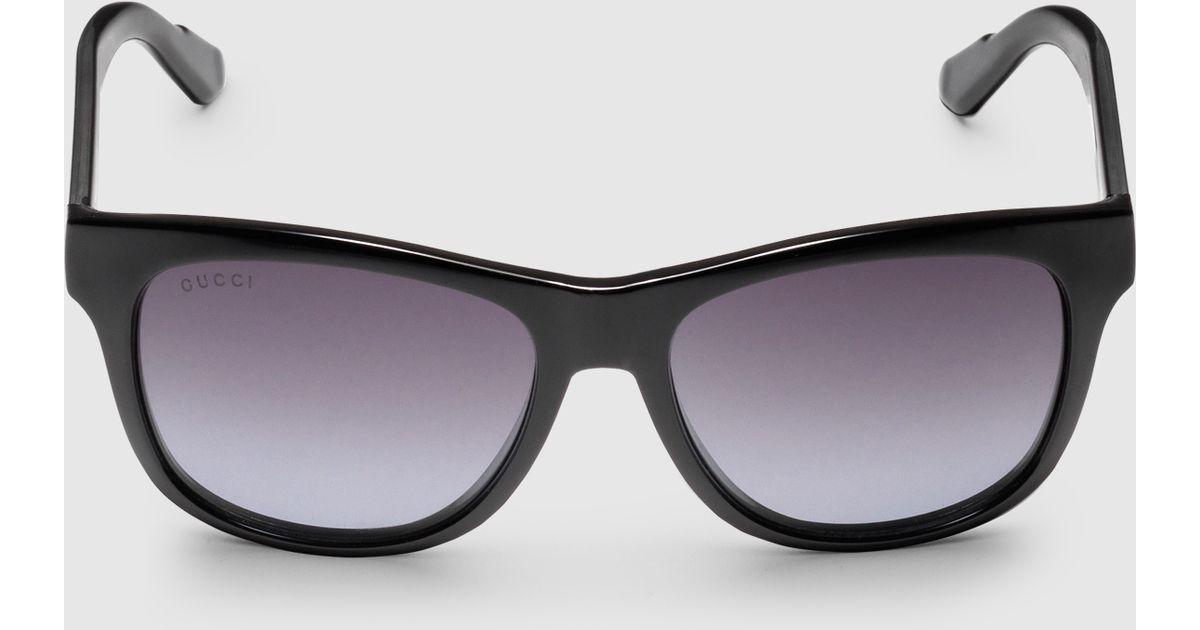 08bc3c9d502 Lyst - Gucci Bio-based Rectangle Web Sunglasses in Black