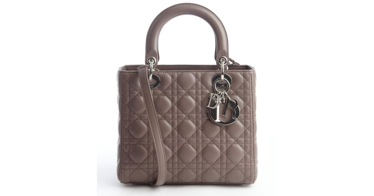 Dior Pigeon Grey Cannage Quilted Lambskin Lady Dior Top Handle Bag in  Natural - Lyst 664c24cf45614