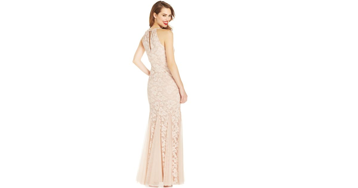 Lyst - Xscape Petite Godet-Pleat Lace Halter Gown in Natural