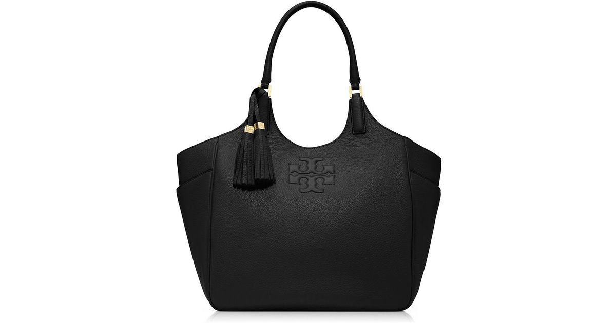 Tory Burch Thea Round Tote In Black Lyst