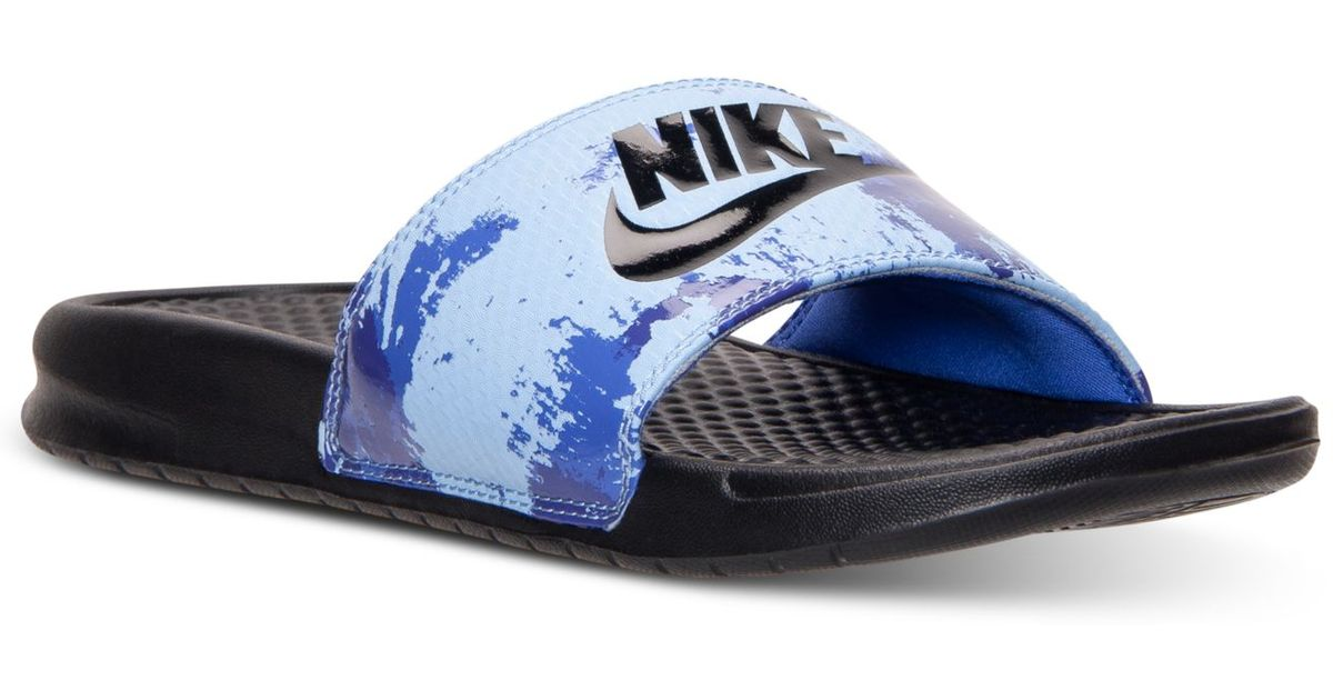 1939c7acc986d2 Lyst - Nike Men s Benassi Jdi Print Slide Sandals From Finish Line in Blue  for Men