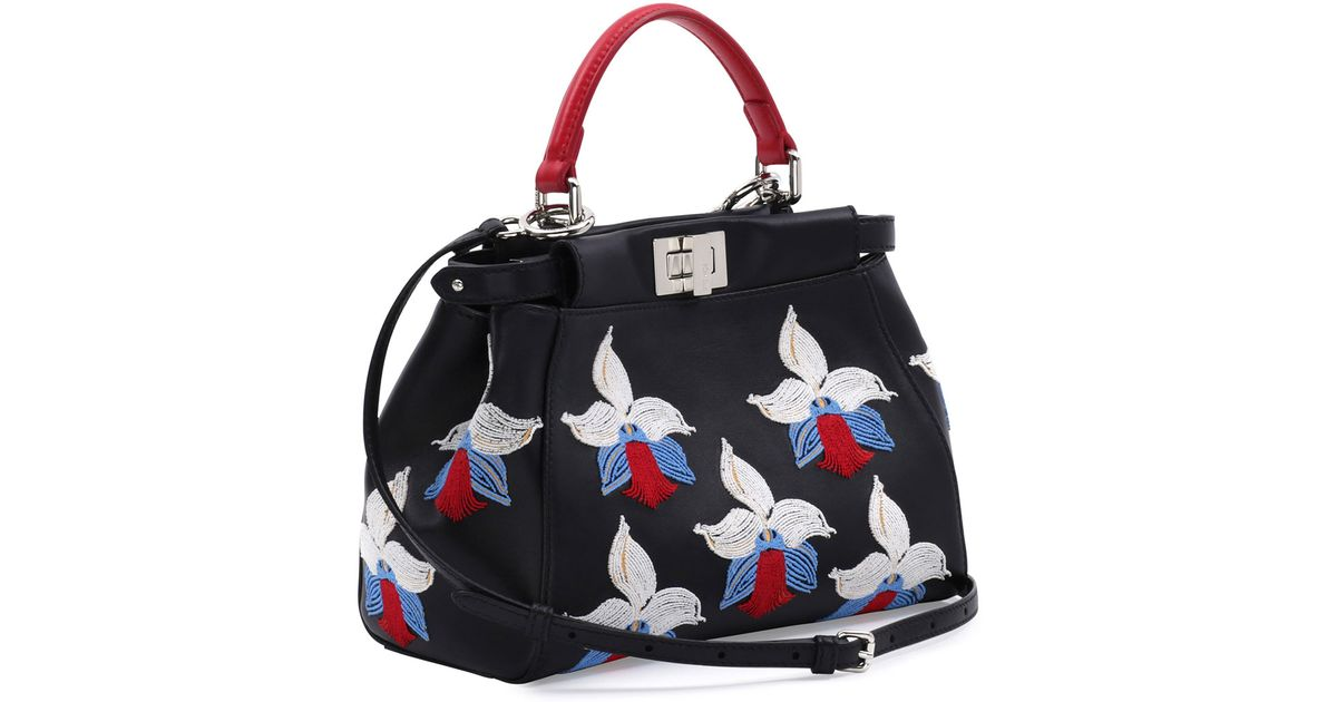 d9bae821f45a ... norway lyst fendi peekaboo mini orchid embroidered satchel bag in black  5ea56 2dba6