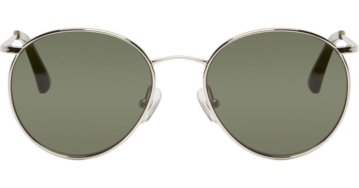8585ec7eaa3 Lyst - Dries Van Noten Silver And Green Round Sunglasses in Metallic for Men