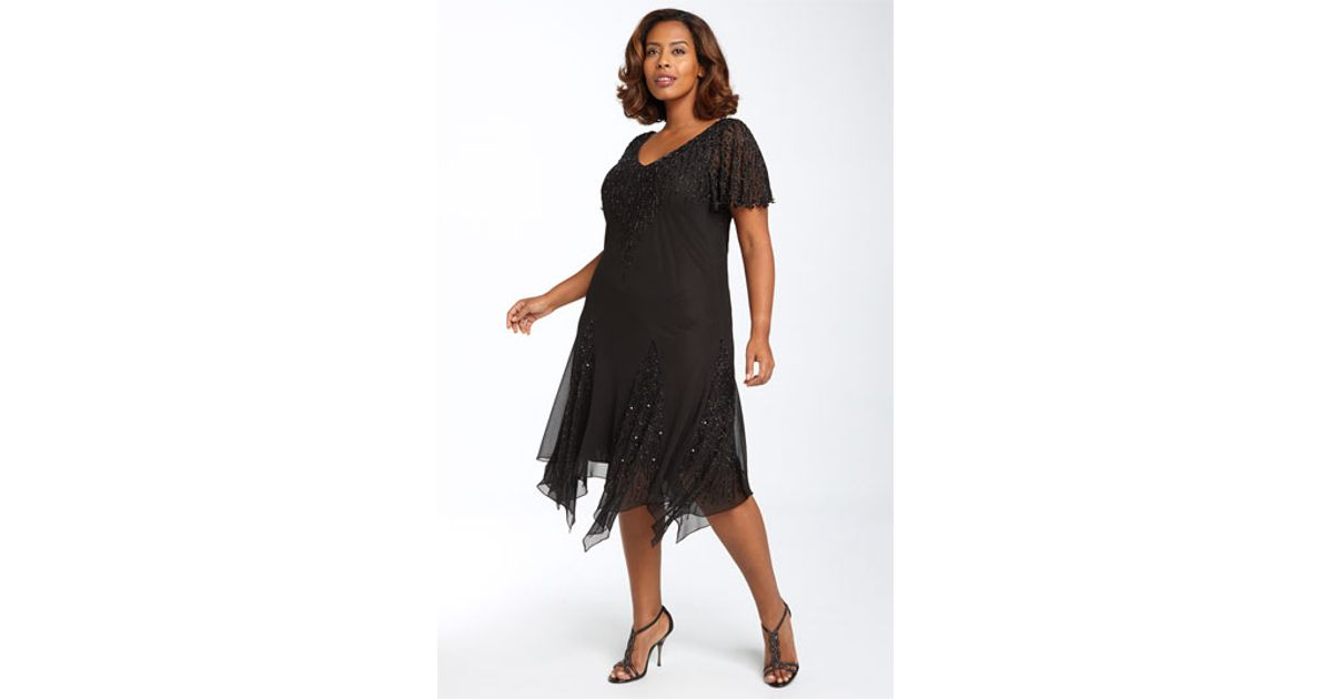 b31f3a84cf376 Lyst - J Kara Beaded Godet Dress in Black