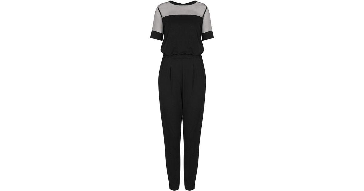 8b3d1883f14 Lyst - TOPSHOP Sporty Mesh Tshirt Jumpsuit in Black