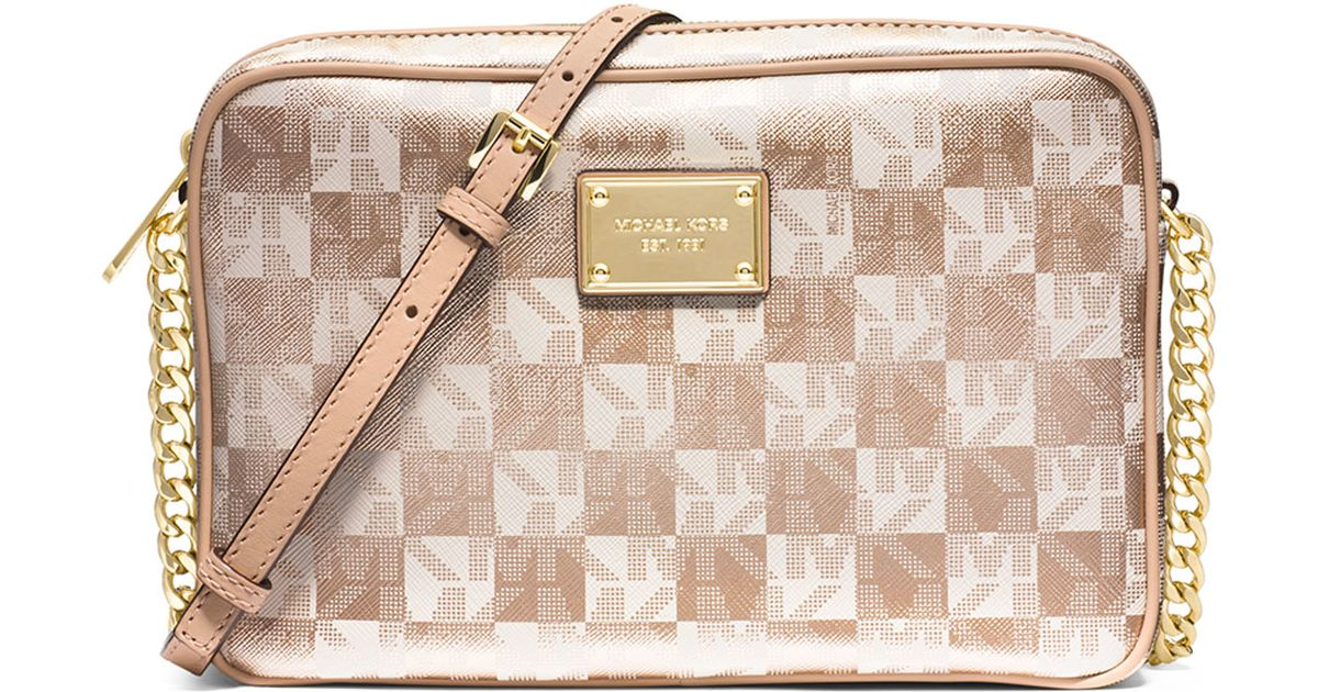 56807c58a4b2 MICHAEL Michael Kors Jet Set Large Checkerboard Crossbody Bag in Metallic -  Lyst