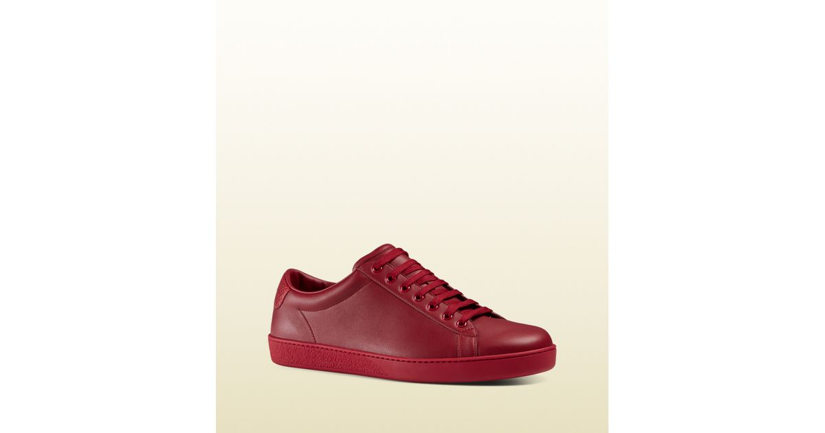 Lyst - Gucci Leather Low-top Sneaker With Ayers Detail in Red 9d6cae8db3ef