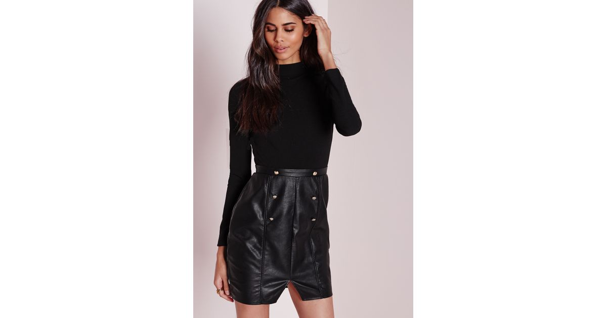 Missguided Tall Long Sleeve High Neck Top With Faux Leather Skirt ...