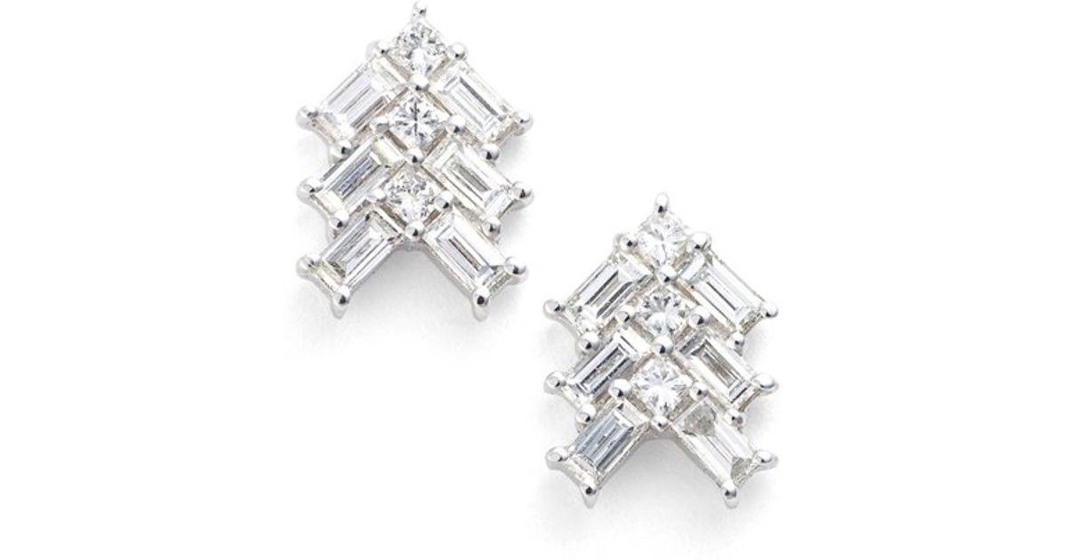 Lyst Bony Levy Diamond Baguette Earrings Nordstrom Exclusive In Metallic