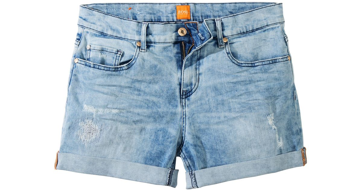 b656afe3e Lyst - BOSS Orange 'Liranda' | Stretch Cotton Blend Denim Shorts in Blue