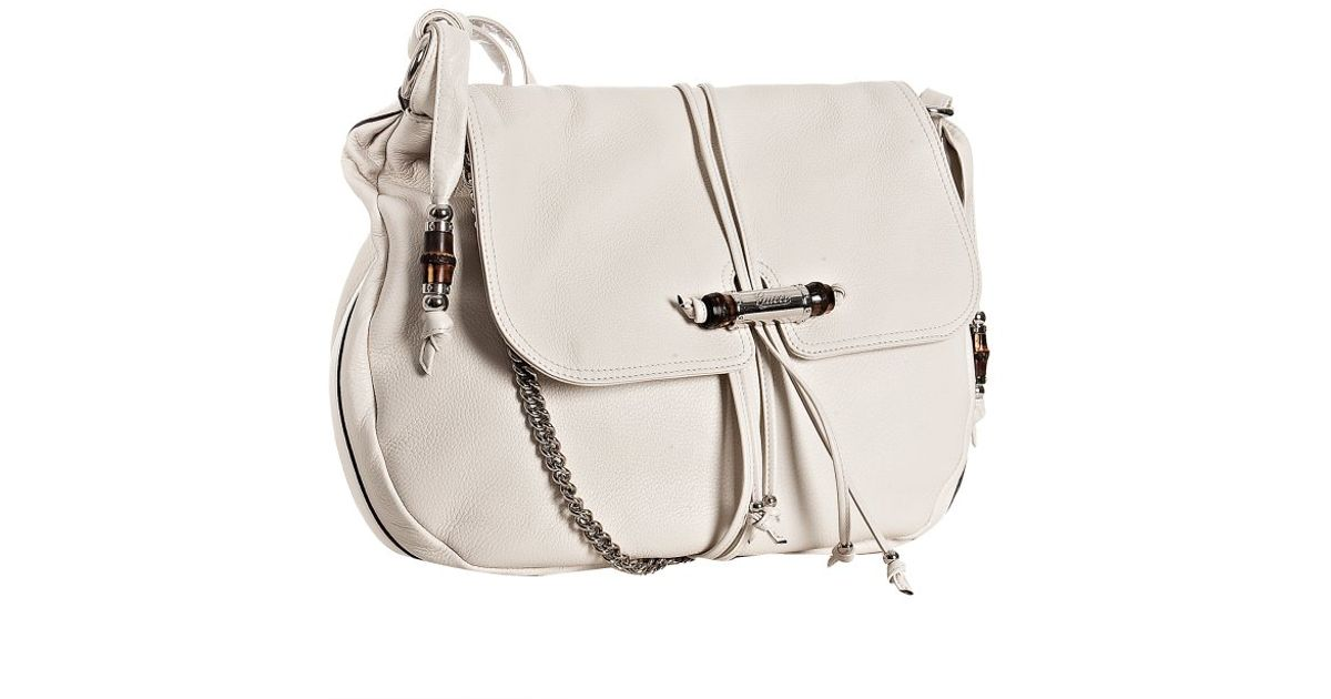 fd0cb09f842 Lyst - Gucci White Pebble Leather Jungle Large Shoulder Bag in White