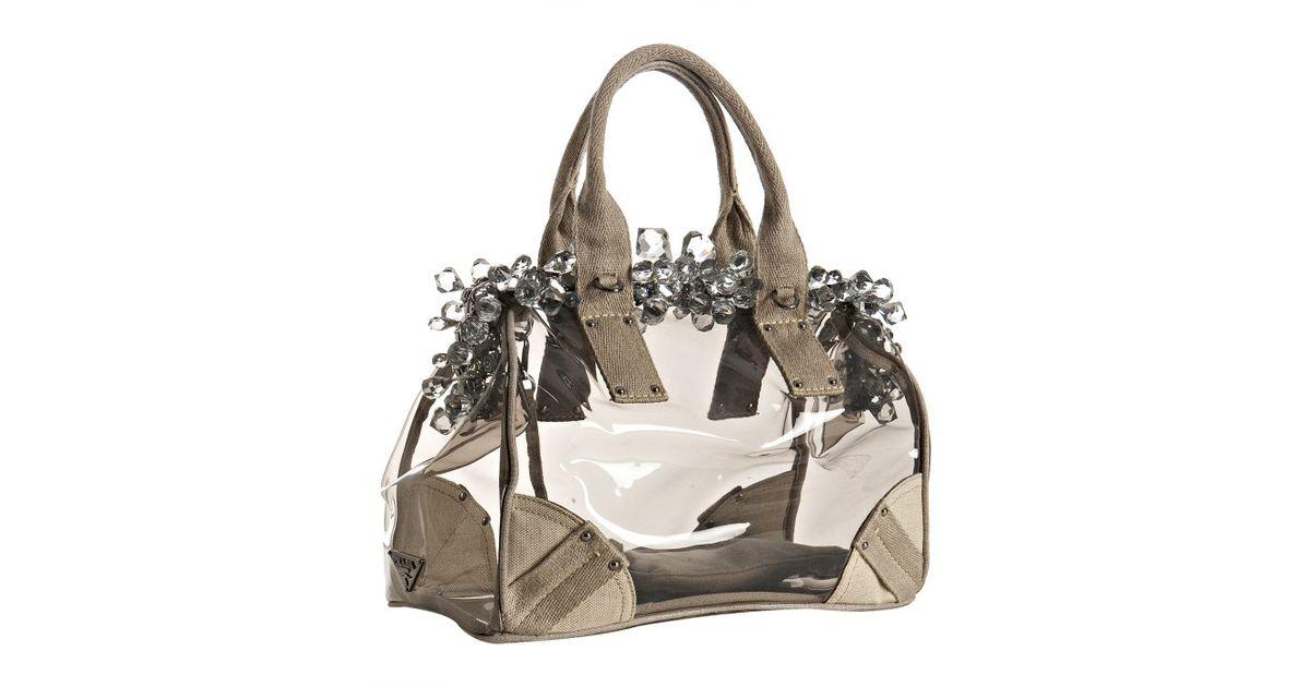 Prada Smoke Pvc and Linen Crystal Detail Doctors Bag in Gray ...