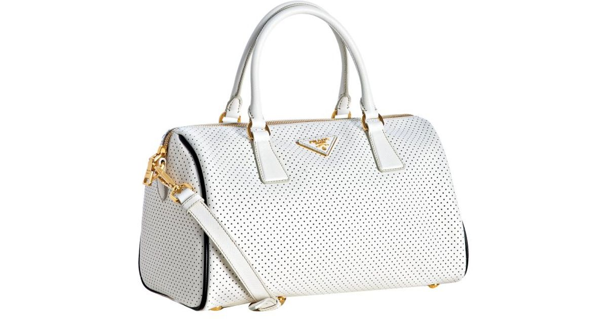 prada white leather and beige canvas bowling bag