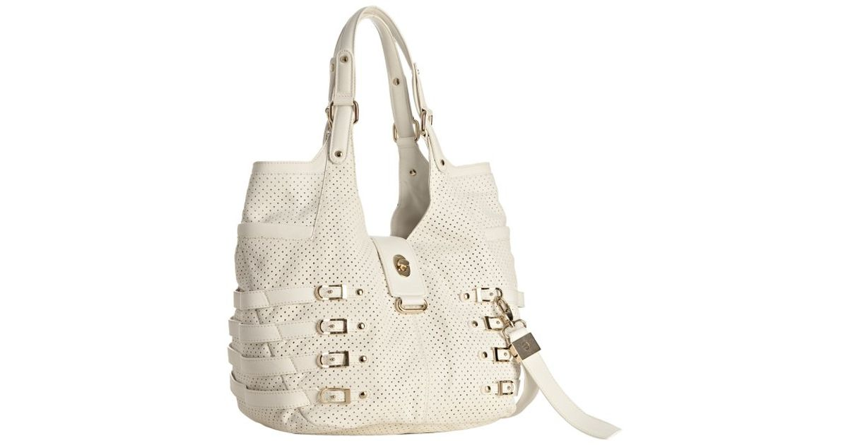 Lyst Jimmy Choo White Perforated Leather Bree Large Shoulder Bag In