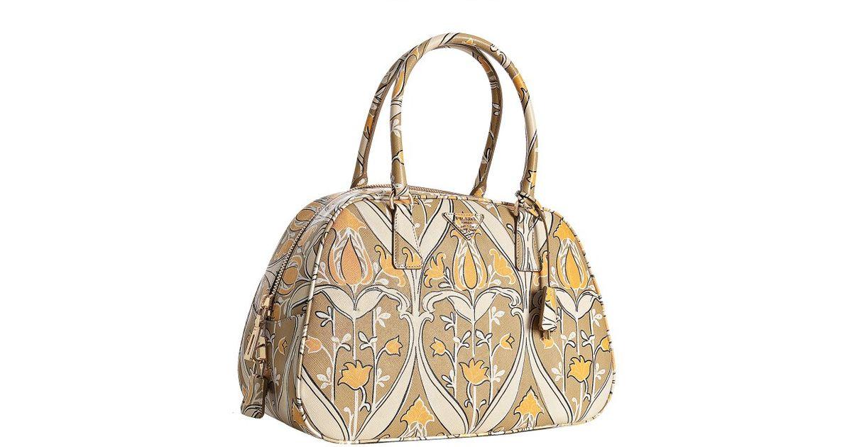 fbca1d51a54b3a Prada Beige Tulip Printed Saffiano Medium Bowler Bag in Beige   Lyst. prada  tote bag price - PRADA Vernice Sfumata Patent Ombre Bowler. prada black  leather ...