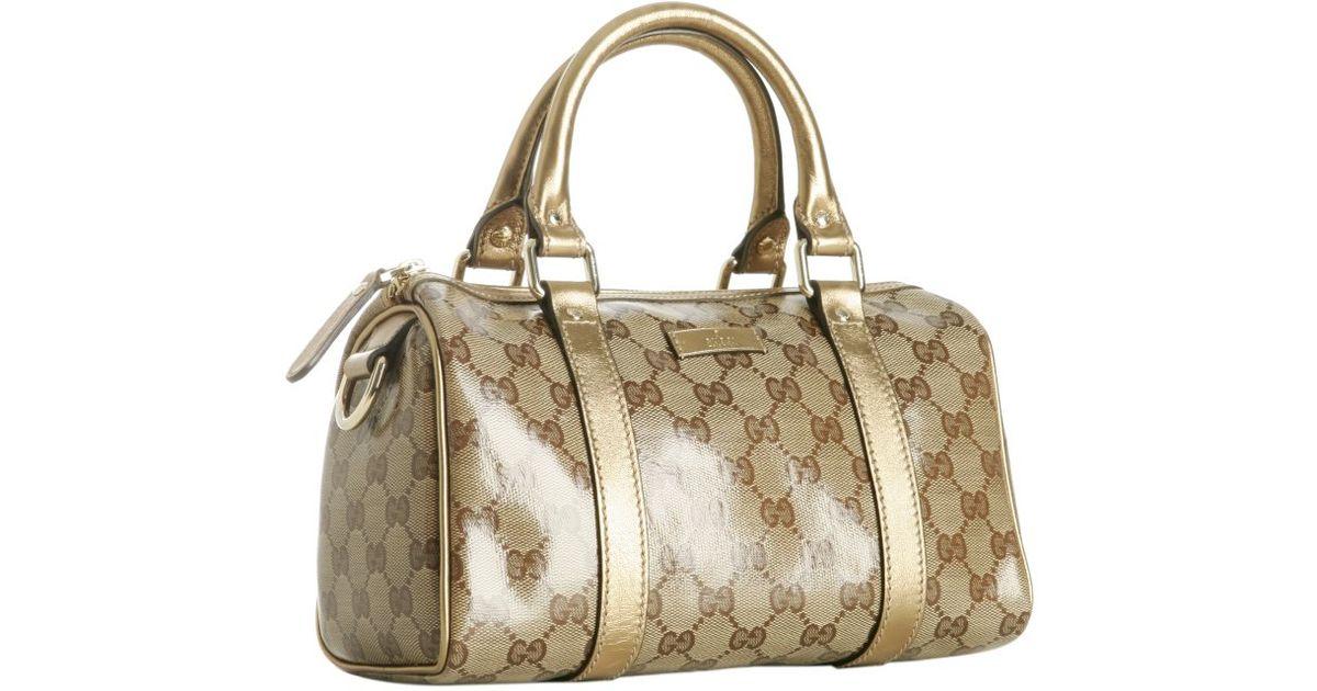gucci gold crystal gg joy small boston bag in metallic lyst