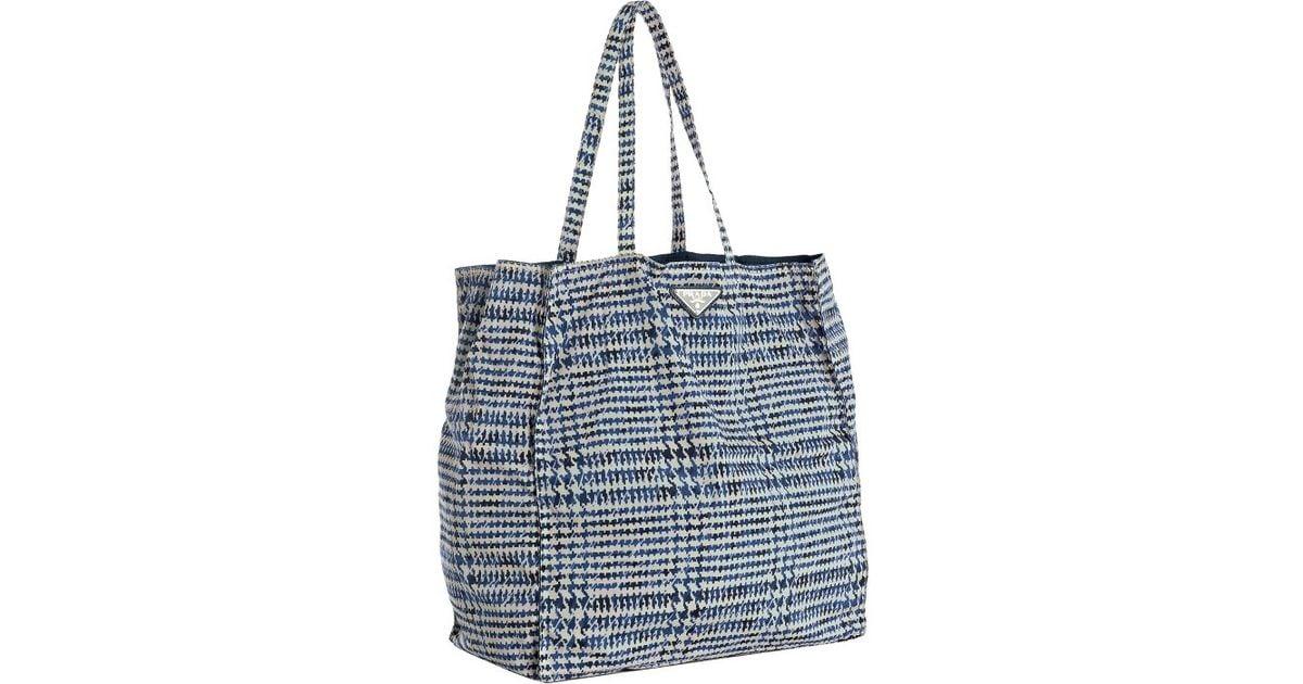 Prada Navy Printed Nylon Tote Bag in Blue (navy)   Lyst