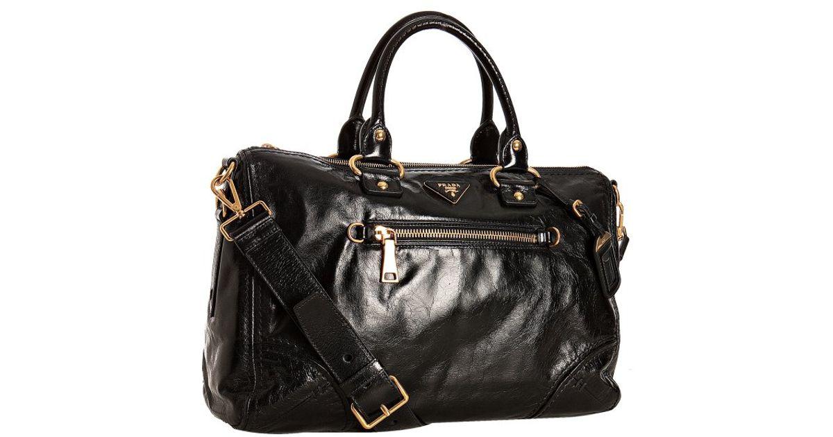 58b05c19e55c91 Prada Black Vitello Shine Leather Bauletto Satchel in Black - Lyst