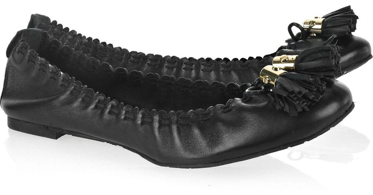 83b6925fb485 Lyst - Tory Burch Reese Leather Ballerina Flats in Black