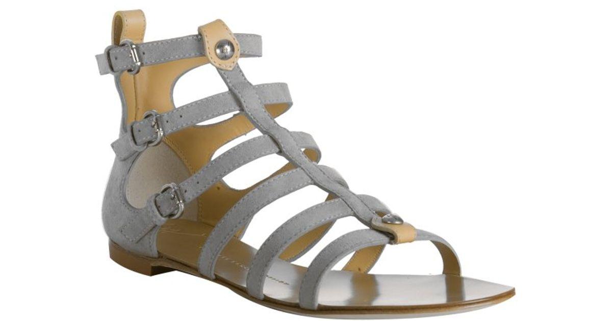 e9ca3ca299f Giuseppe Zanotti Grey Suede Open Toe Gladiator Sandals in Gray - Lyst