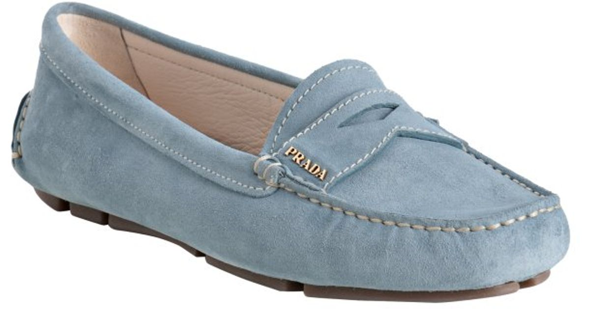 77bcd7d78a2 Lyst - Prada Sky Blue Suede Logo Detail Loafers in Blue