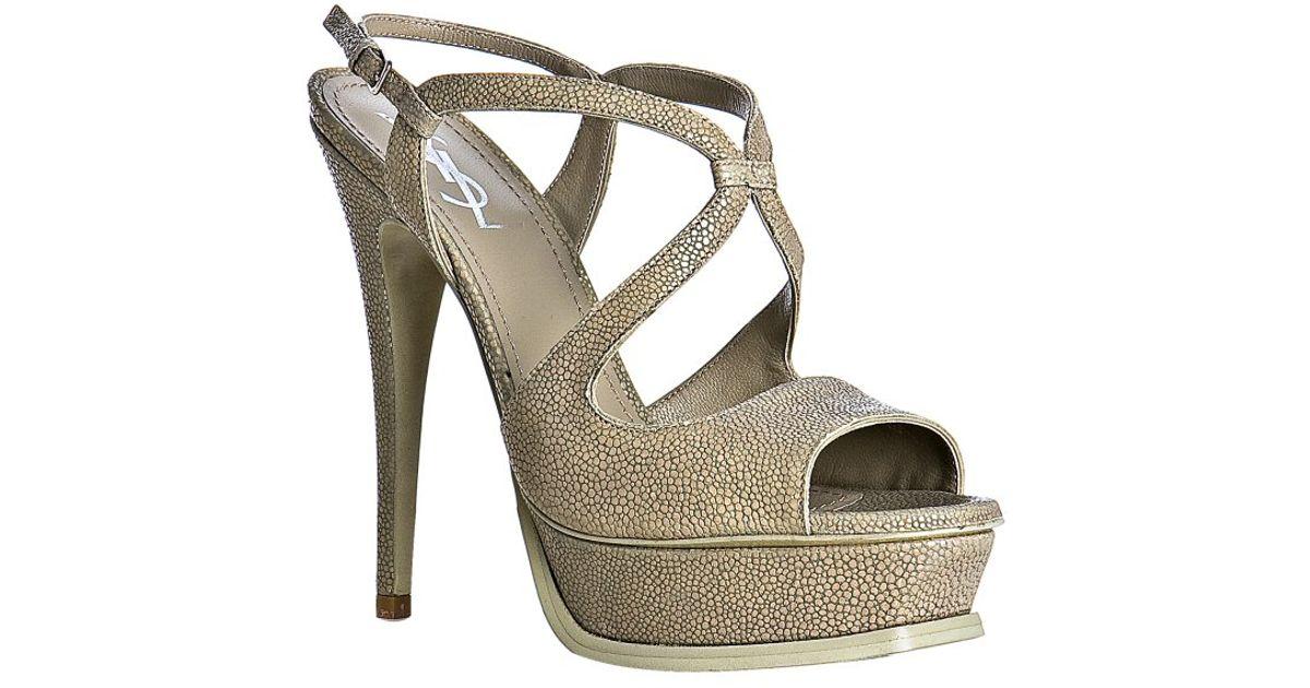 486729e089e Lyst - Saint Laurent Grey Stingray Print Leather Cosmo Platform Sandals in  Gray