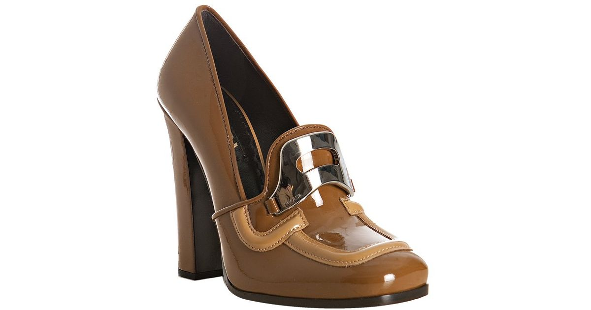 252dc993806f ... usa lyst prada brandy patent leather loafer pumps in brown 89858 83853