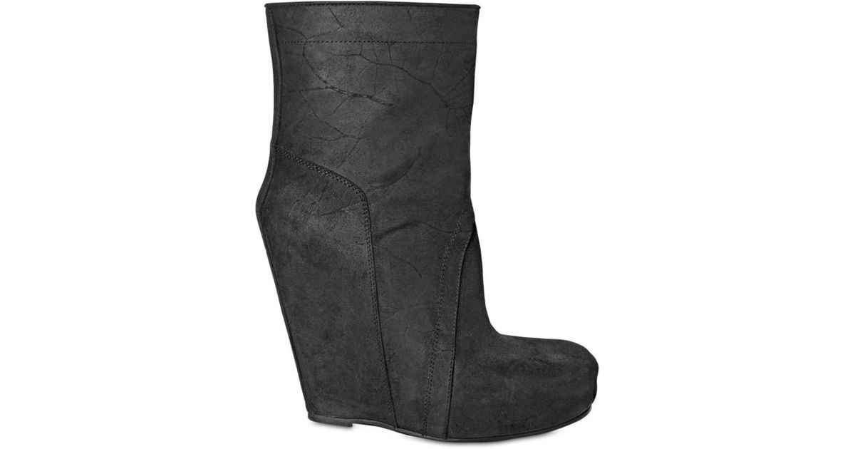 4f6defc23362 Lyst - Rick Owens 140mm Distressed Calf Low Boot Wedges in Black