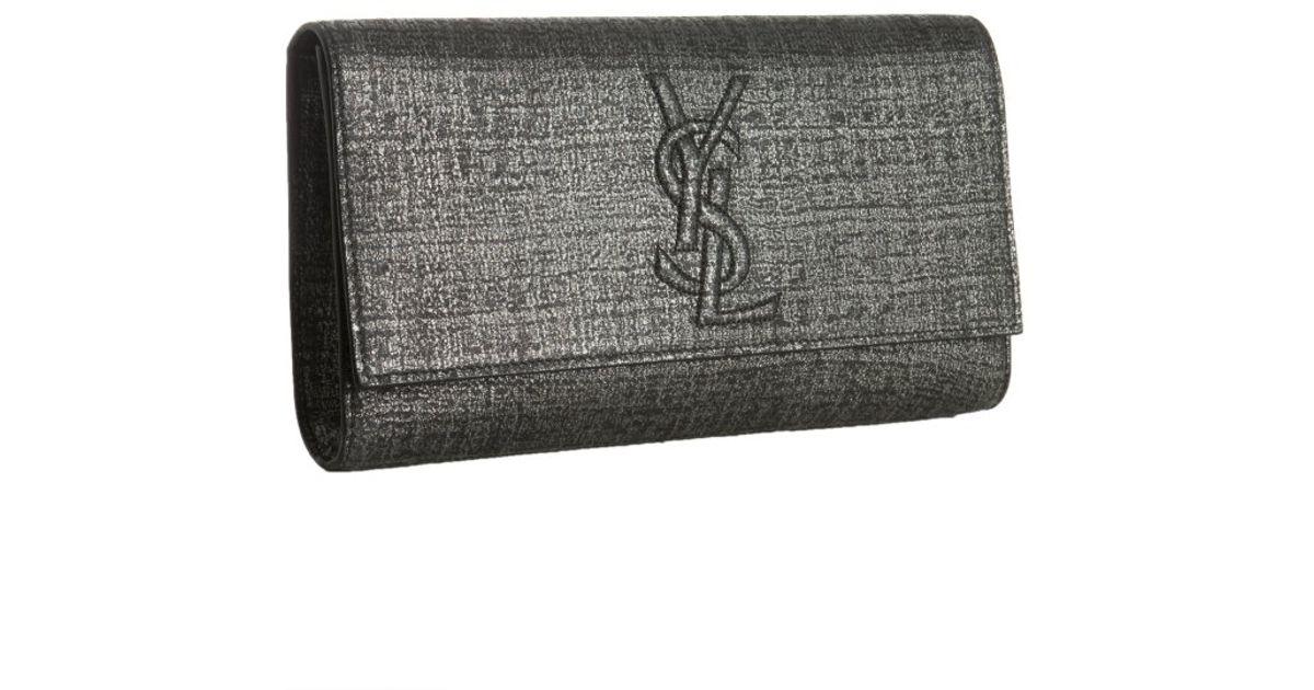 700c30ec76b3 Lyst - Saint Laurent Belle Du Jour Logo Clutch in Gray
