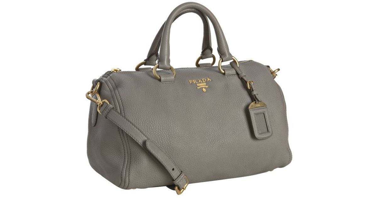 Prada Taupe Leather Logo Detail Top Handle Bag In Brown Lyst