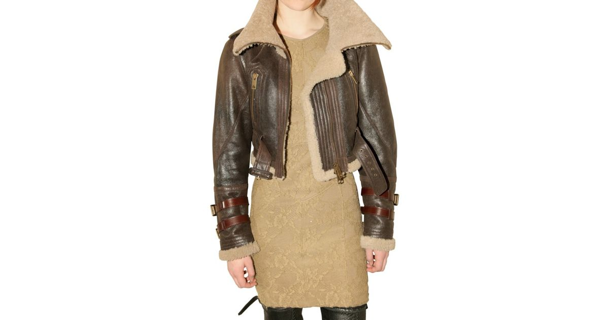 afd6052b643 Lyst - Burberry Prorsum Shearling Aviator Leather Jacket in Brown