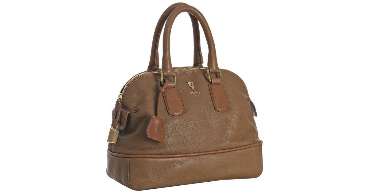 C¨¦line Camel Deerskin Padlock Top Handle Bag in Beige (camel)   Lyst