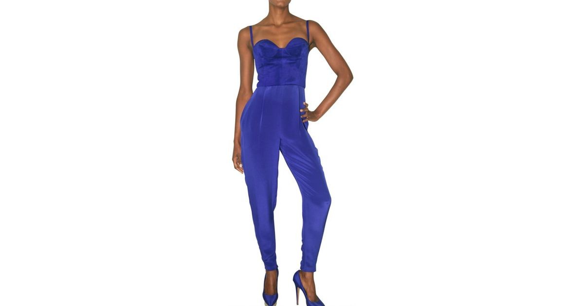 97ca3eea7eef5 Lyst - Hannah Marshall Suede and Double Crepe Jumpsuit in Blue