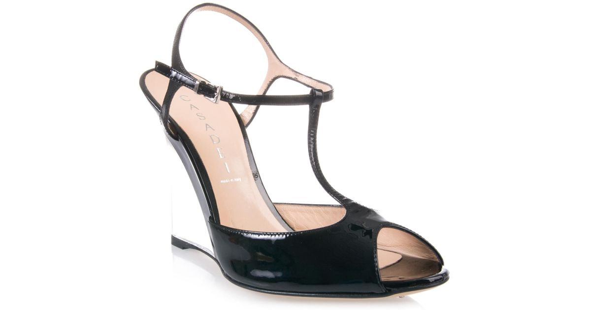 Casadei Clear Heel Wedge Shoe in Black - Lyst