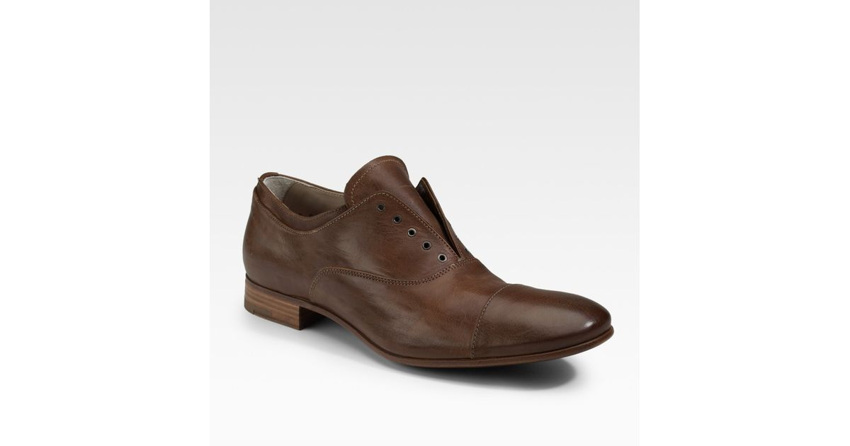 071ee9017927 Lyst - Prada Laceless Oxfords in Brown for Men