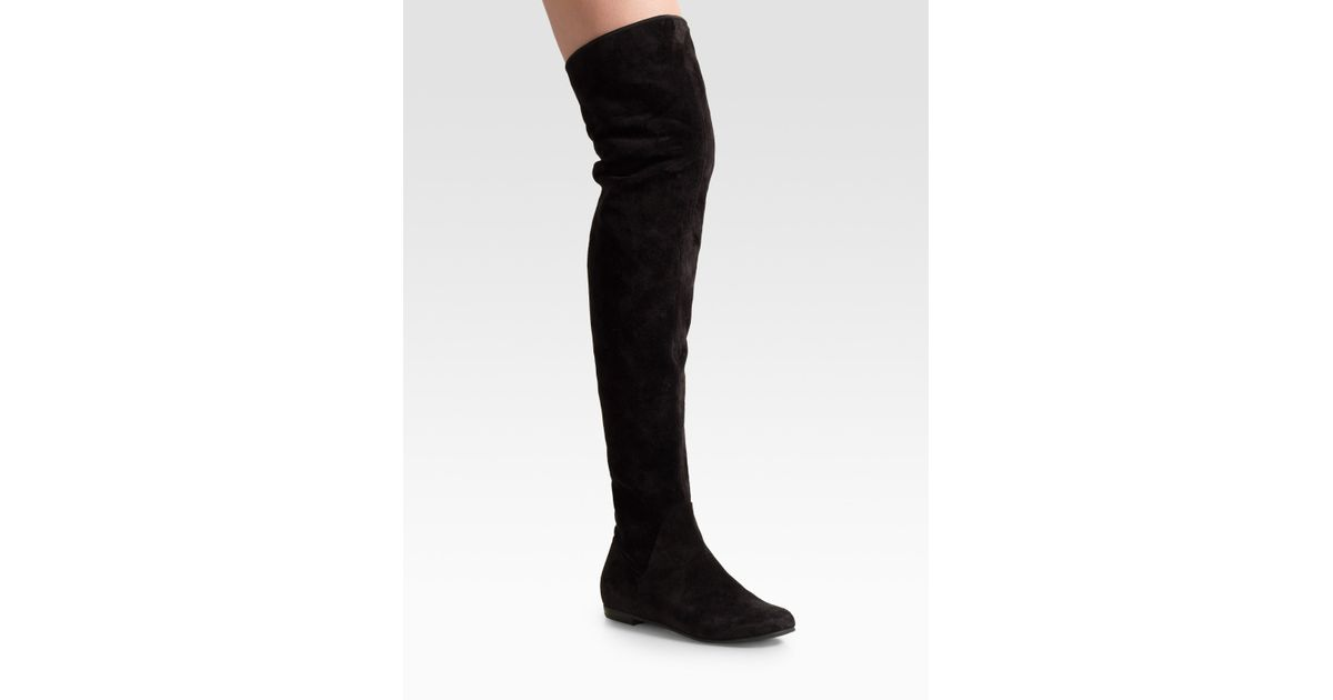 lyst giuseppe zanotti black suede over the knee flat boots in black rh lyst com
