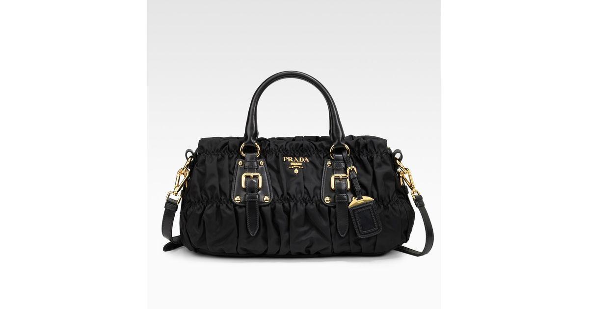 Lyst - Prada Tessuto Gaufre Top Handle Bag in Black 0ef1d44ed4d3a