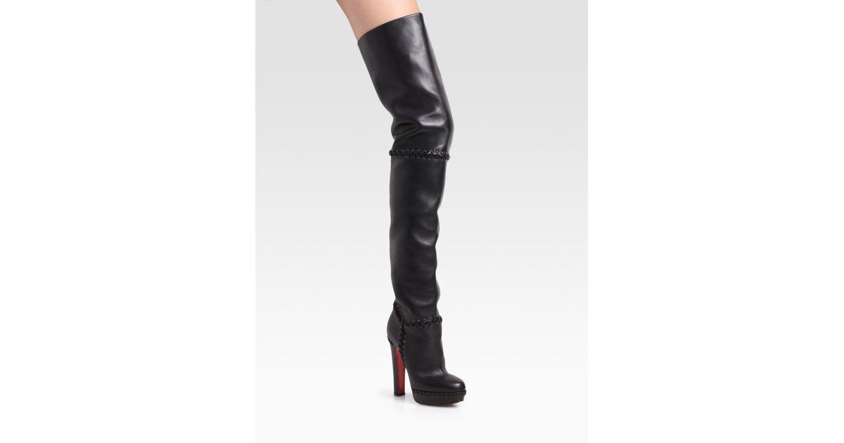 db17a8923b46 ... cheap lyst christian louboutin tres contente thigh high boots in black  5c355 a7ed4