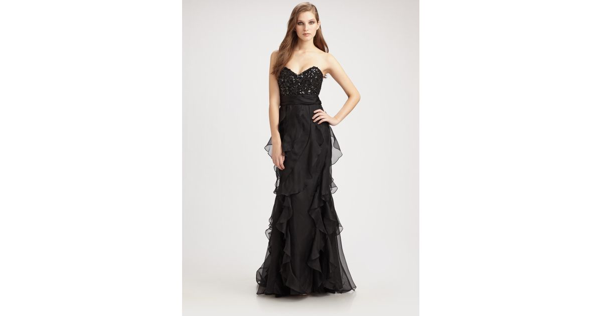 778ae345b3e2 Lyst - Badgley Mischka Sequined Strapless Ruffle Gown in Black