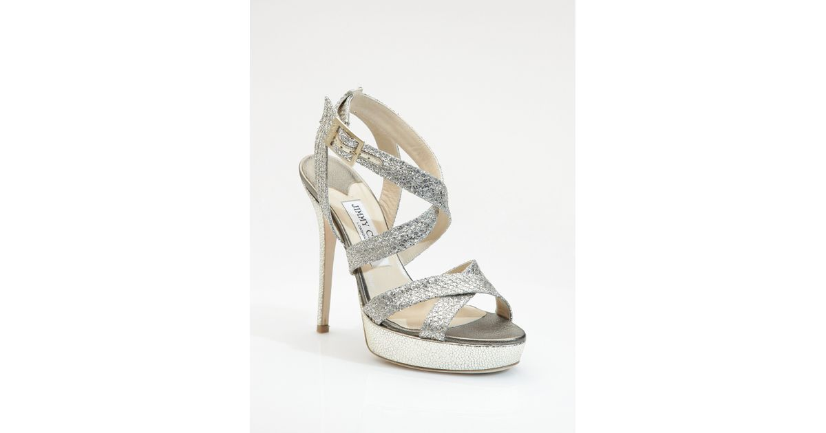 68f17a861fd Lyst - Jimmy Choo Vamp Glitter-covered Leather Sandals in Metallic