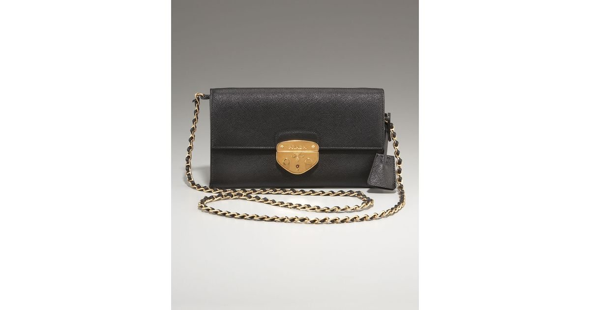 genuine prada handbags - Prada Saffiano Lux Detachable Chain Clutch in Black (nero) | Lyst