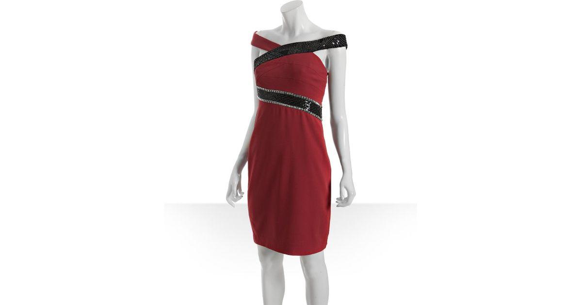 Nicole Miller Red Stretch Silk Embellished Off The Shoulder Dress In Lyst