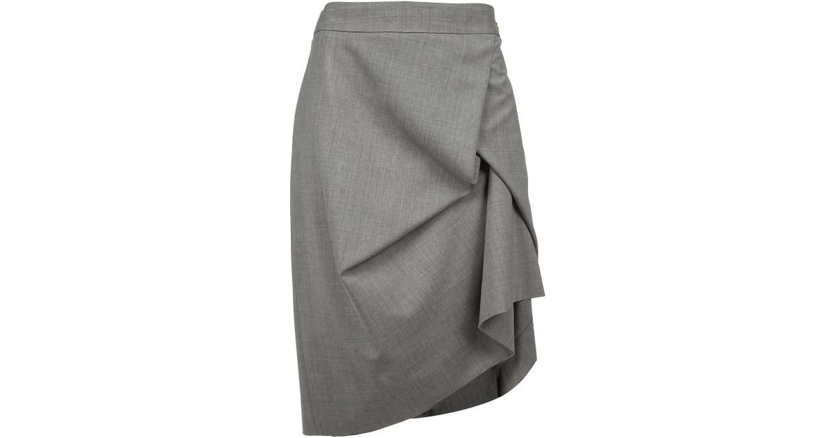 772c1a6a1c Vivienne Westwood Red Label Draped Wool-blend Pencil Skirt in Gray - Lyst