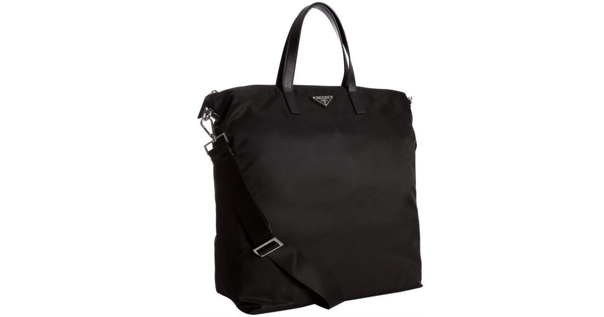 b6fdb9766887 Prada Black Nylon Leather Detail Travel Tote in Black for Men - Lyst