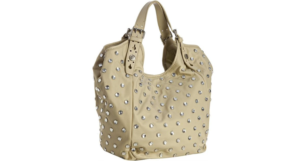 Lyst - Givenchy Beige Nylon Studded New Sacca Small Hobo in Natural 74496097d56a9