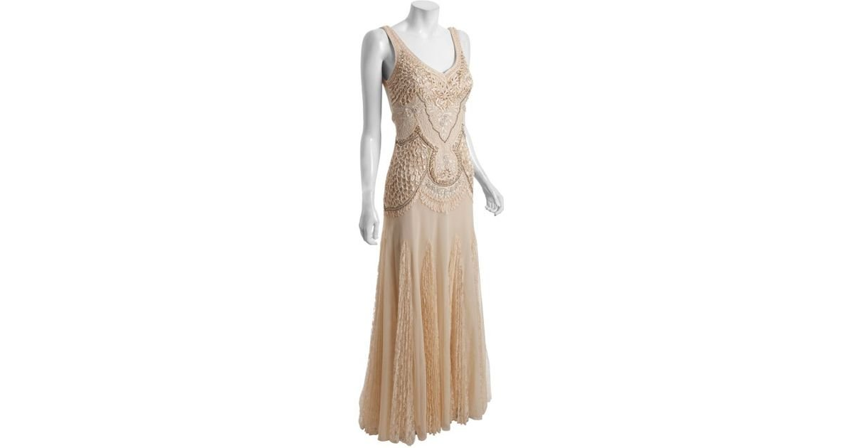 ef3a9cb9e6f Lyst - Sue Wong Champagne Ribbon Trim Beaded Gown in Pink