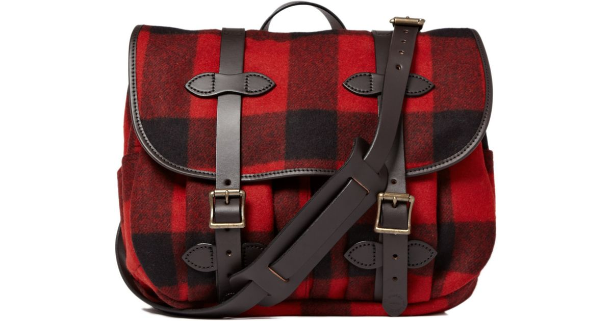 3a3e2bf41f Lyst - Filson Plaid Wool Field Messenger Bag in Red for Men