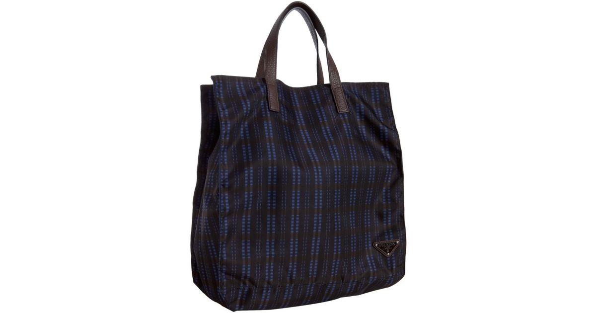 Prada Blue Check Nylon Shopping Tote in Blue for Men | Lyst