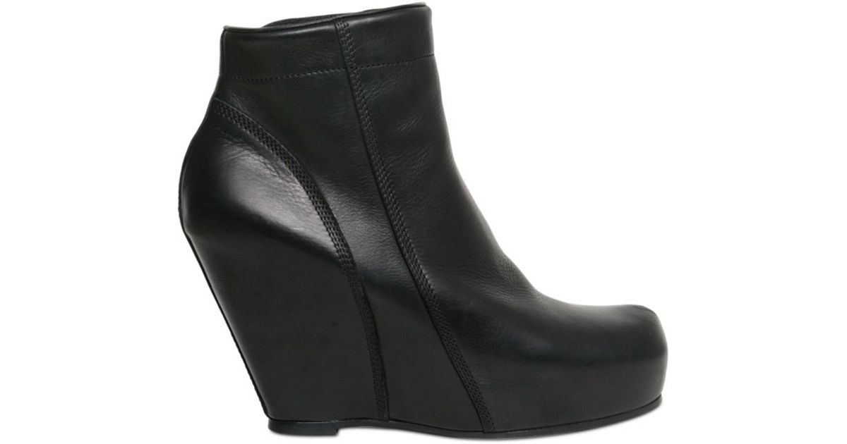 bb41e3712824 Lyst - Rick Owens 100mm Elk Low Boot Wedges in Black