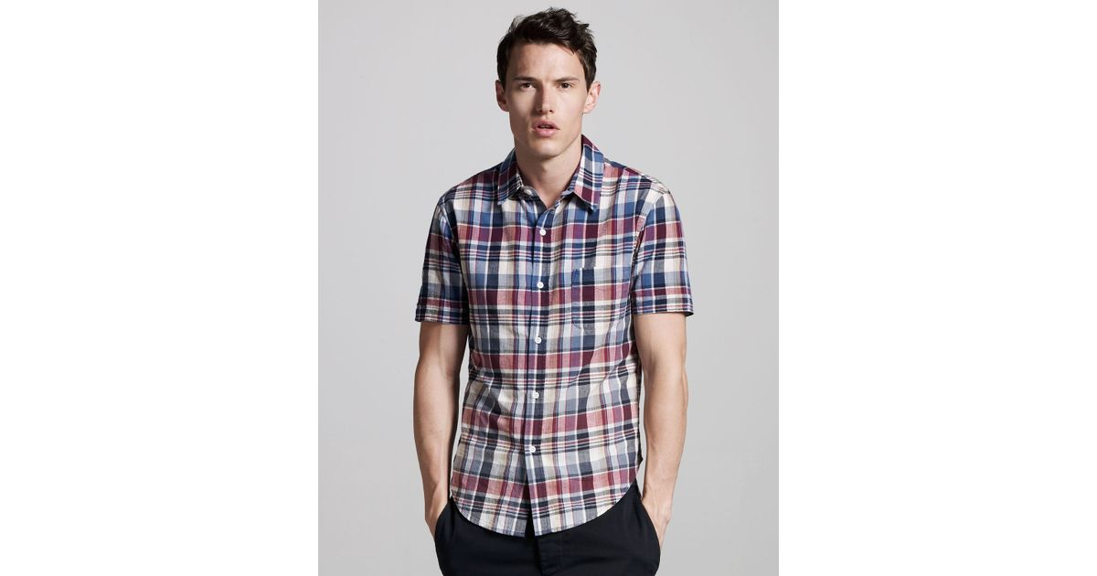 Lyst band of outsiders faded short sleeve madras shirt for Mens madras shirt sale